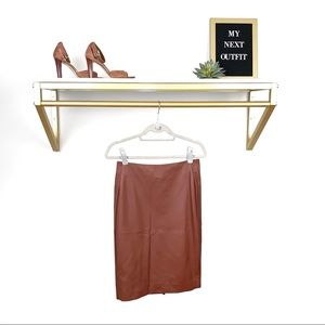 The Limited Brown Vegan Leather Pencil Skirt